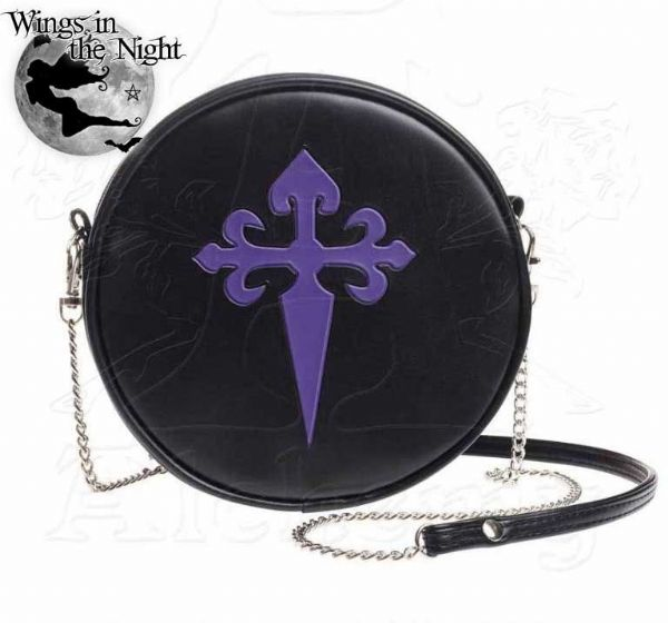 ALCHEMY GOTHIC Purple Gothic Cross Shoulder Bag